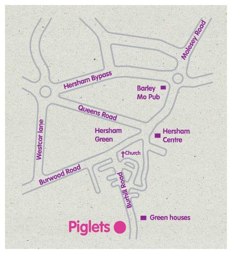 Piglets play centre hersham map